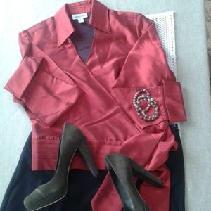 Coldwater Creek shiny red wrap blouse